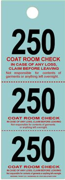 Coat Check Tickets - Blue - 500 Count